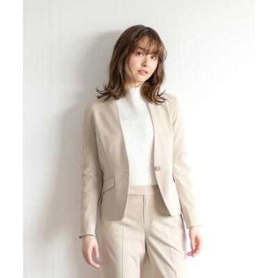 White Collection / 【2021SS】BRERAポプリン・ストライプ&無地・カラーレスジャケット(背抜き裏仕様) WOMEN ジャケット/アウター > ノーカラージャケット