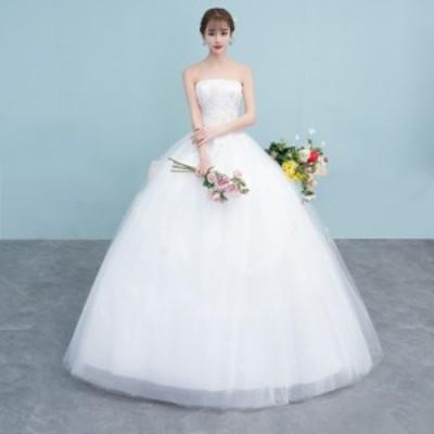 激安 韓国ファッション ウェディングドレス ロング ブライズメイドドレス 結婚式 パーティードレス 演出服 発表会 ホワイト 白 撮影
