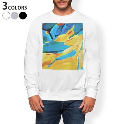 トレーナー メンズ 長袖 ホワイト グレー ブラック XS S M L XL 2XL sweatshirt trainer 裏起毛 スウェット 黄色 青 絵画 012168