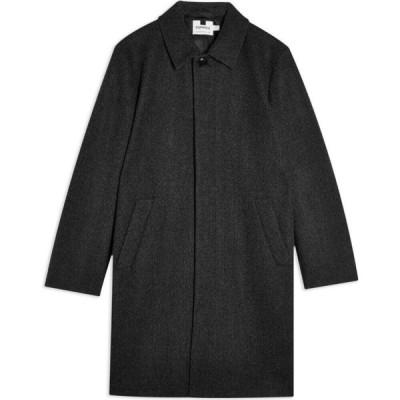 トップマン TOPMAN メンズ コート アウター charcoal gray faux wool mac Lead