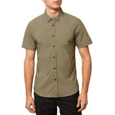 オニール メンズ シャツ トップス Stockton Hybrid Short-Sleeve Button-Down Shirt Army Green