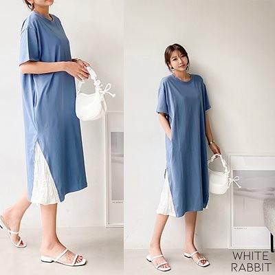 売り切れ間近! 韓国人気商品ロングワンピース [WHITERABBIT] 韓国ファッション女性服No.1! 送料無料