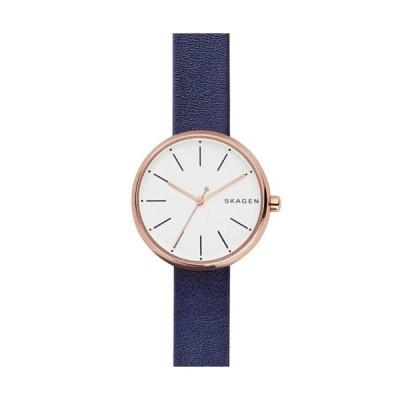 腕時計 スカーゲン Skagen Signature Dark Navy Leather Watch SKW2592