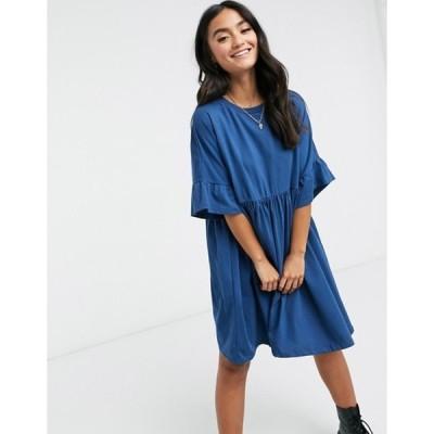 エイソス レディース ワンピース トップス ASOS DESIGN oversized frill sleeve smock in blue