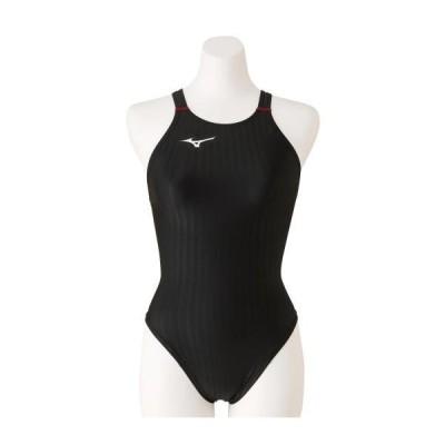 【送料無料】ミズノ 競泳用ハイカット(レースオープンバック)[レディース] ブラック×レッド Mizuno N2MA0222 96