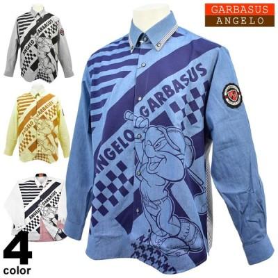 セール 70%OFF アンジェロガルバス ANGELO GARBASUS メンズ 秋冬 ボタンダウンシャツ(長袖) ゴルフ ロゴ ワッペン ストライプ 切替 キャラクター 85-1102-03