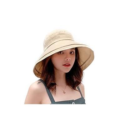 Olinke UVカット 帽子 レディース 紫外線対策 ワイヤーを加える 熱中症予防 トレッキングハット サファリハット ツバ広 帽子 折りたたみ 母