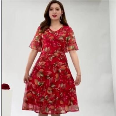 韓国 ファッション レディース 大きいサイズ 大きいサイズ レディース マキシワンピース 総柄 Vネック 半袖 ドルマン オーバーサイズ 韓