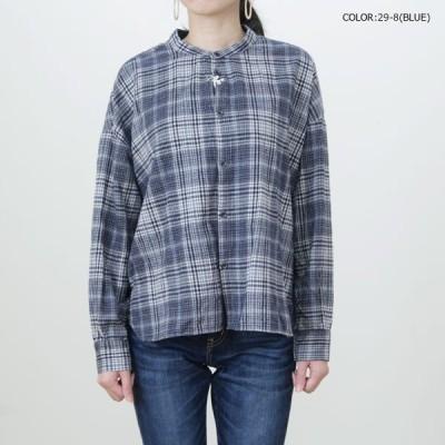 D.M.G(DMG・ドミンゴ)16-572T ネルグレンチェックスタンドワイドシャツ ドロップショルダーでゆったりした着心地。 秋冬らしい起毛素材の長袖シャツ