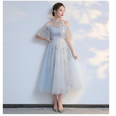 パーティードレス ウエディングドレス aラインワンピース 結婚式 2020新作 ミモレ丈ドレス 大きいサイズ 40代 きれいめ お呼ばれ 卒業式 発表会 披露宴