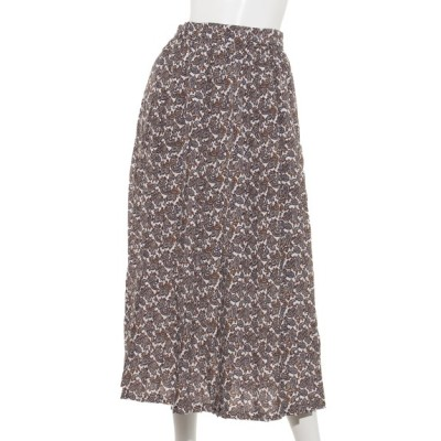 Melan Cleuge (メランクルージュ) レディース ペイズリー柄ロングプリーツスカート オフ フリー