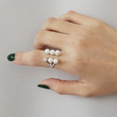リング指輪アクセサリーレディースフェイクパールオープンリングかわいいおしゃれプレゼントギフト