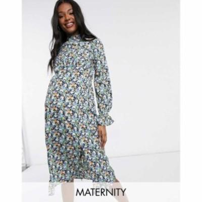 インフルエンス Influence Maternity レディース ワンピース ワンピース・ドレス Long Sleeve Midi Dress In Floral Print マルチカラー