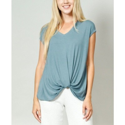 コイン1804 カットソー トップス レディース Women's V-Neck Twist Front T-shirt Hunter Green
