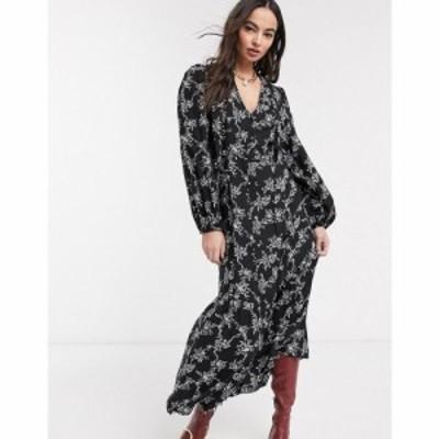 リバーアイランド River Island レディース ワンピース ミドル丈 ワンピース・ドレス long sleeve pussybow floral midi dress in black