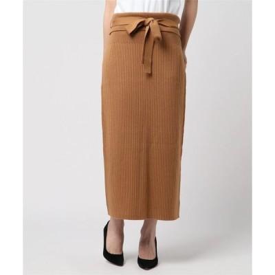 スカート リブニットロングスカート