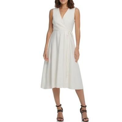 ダナ キャラン ニューヨーク レディース ワンピース トップス Stretch Linen Blend Faux Wrap V-Neck Sleeveless Midi Dress