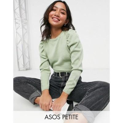 エイソス ASOS Petite レディース ニット・セーター トップス Asos Design Petite Puff Sleeve Top In Sage セージ