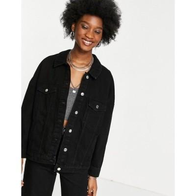 オンリー レディース ジャケット&ブルゾン アウター Only oversized denim jacket in washed black Black
