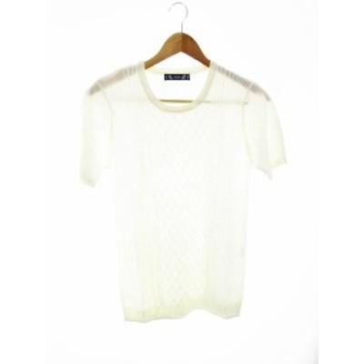 【中古】ハルプ HaLb ニット セーター 半袖 麻 リネン 無地 M 白 ホワイト /MO レディース