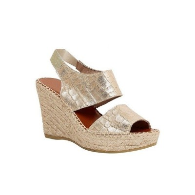 アンドレア アース レディース サンダル シューズ Reese Croc Embossed Leather Espadrille Platform Wedge Sandals Platino Croc