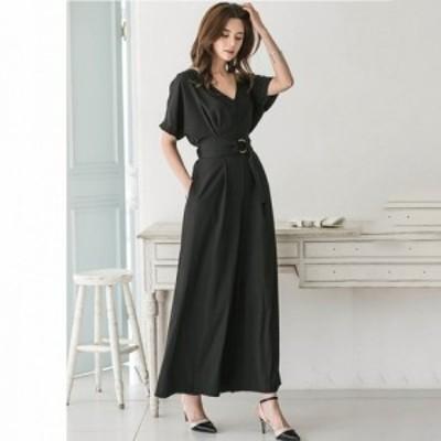 ワンピースドレス ワンピース ドレス 袖あり パーティードレス パンツ パンツドレス オールインワン 黒 a0915