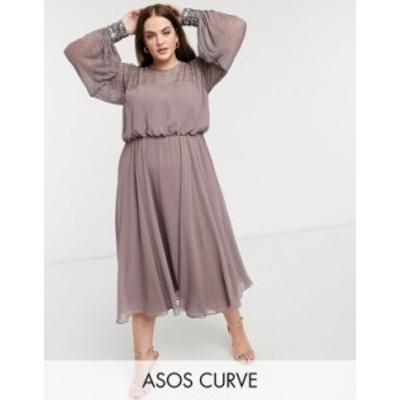 エイソス レディース ワンピース トップス ASOS DESIGN Curve midi dress with linear yoke embellishment Mauve