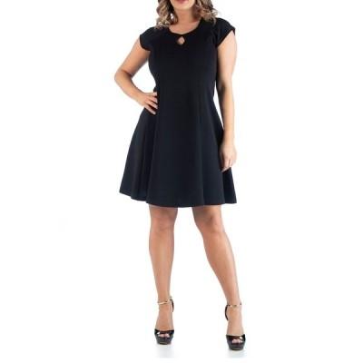 24セブンコンフォート ワンピース トップス レディース Women's Plus Size Keyhole Neck Dress Black