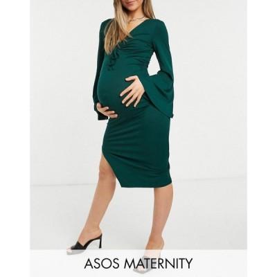 エイソス ASOS Maternity レディース ワンピース マタニティウェア ミドル丈 Maternity Tie Bust Midi Dress With Fluted Sleeve In Forest Green