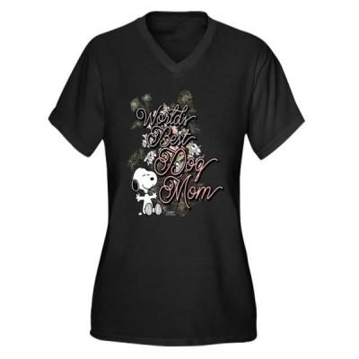 レディース 衣類 トップス CafePress - Snoopy World Women's Plus Size V Neck Dark T Shirt - Women's Plus Size V-Neck Dark T-Shirt Tシャツ