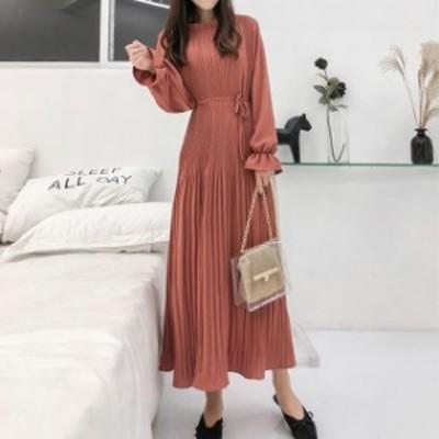 ワンピース プリーツ シフォン フリル ミモレ丈 ロング ドレス フェミニン mme5046