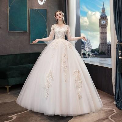 ウエディングドレス レディース  プリンセスドレス ブライダルドレス 花嫁 Aライン ロング丈 編み上げ 演奏会 前撮り ドレス