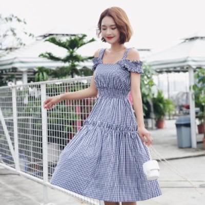 タンクトップワンピース ひざ丈 体型カバー フリル 大人可愛い カジュアル 韓国ファッション トレンド レディース オルチャン きれいめ