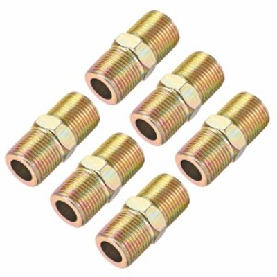 uxcell 六角ニップル 炭素鋼管 チューブ継手 G3/8xG3/8-6個入り