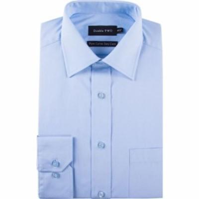 ダブルTWO Double Two メンズ シャツ トップス King Size 100% Cotton Poplin Shirt Glacier