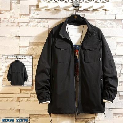 ミリタリージャケット メンズ 無地 カジュアル スタジャン プリント 前ポケット ブルゾン スウェット 大きいサイズ