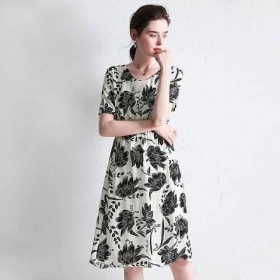 パーティドレス ♪セレブファッション 100%シルク!Aラインワンピース 夏新作 半袖 大人スマートな余裕をもたらす 体型カバー 【送料無料】