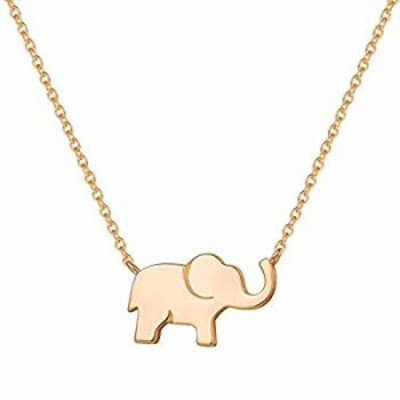 FANCIME Rose Gold Plated 925 Sterling Silver High Polished Cute Mini Small Lucky Elephant Dainty Pendant Necklace For Women Girl