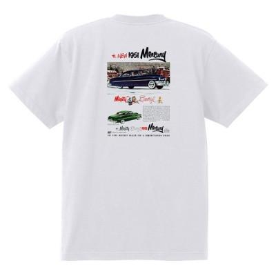アドバタイジング マーキュリーTシャツ 白 1264 黒地へ変更可 レトロ 1951 レッドスレッド ホットロッド ロカビリー ボム