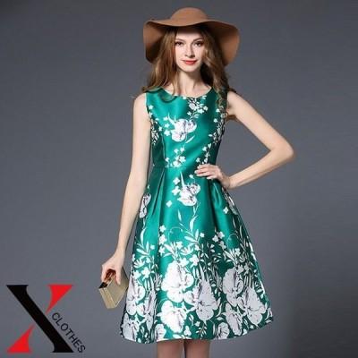 ノースリーブ ワンピース 花柄 フラワー レディース 膝丈 Aライン フォーマル お呼ばれ 二次会 ワンピース エレガント ドレス