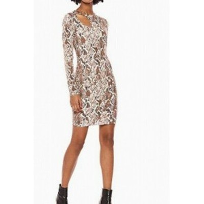 GUESS ゲス ファッション ドレス Guess Womens Dress Brown Size XL Sheath Animal Snake Print Cutout