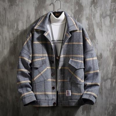 秋冬 中綿ジャケット メンズ ブルゾン ジャンパー コート チェック 防風 防寒