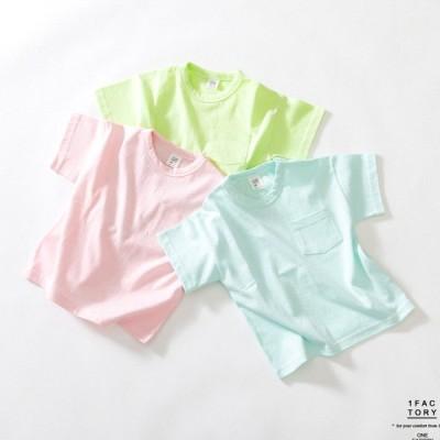 1FACTORY ペールトーンカラーポケットTシャツ-ピンク-13/130cm