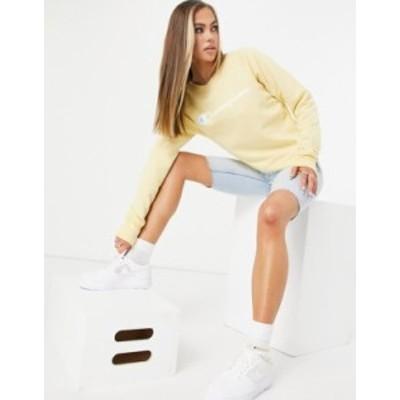 チャンピオン レディース シャツ トップス Champion sweatshirt with logo in yellow Yellow