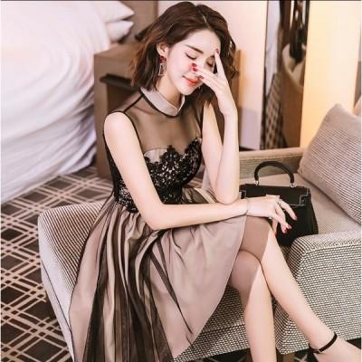 ワンピース レディース 20代 30代 きれいめ 上品 ミニ丈 ノースリーブ シースルー Aライン 大人可愛い バイカラー ドレス ハイネック
