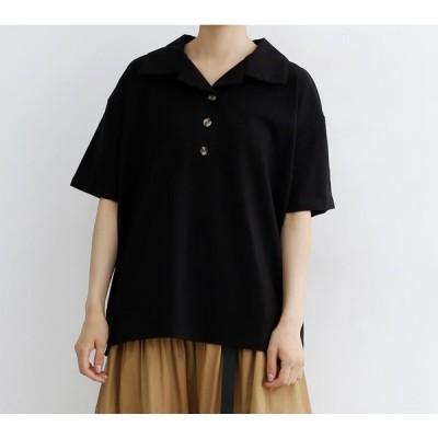 オープンカラー半袖ポロシャツ