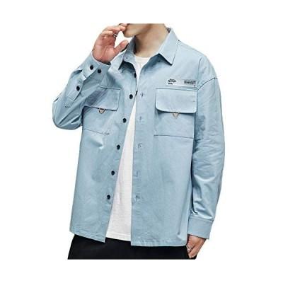 BRRAEL メンズ シャツ カジュアルシャツ ジャケットシャツ スポーツ ポケット付き コットン 通気性 オシャレ長袖
