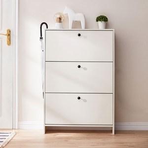林氏木業美式現代小戶型玄關超薄翻板收納鞋櫃 JF1N-A 荷花白