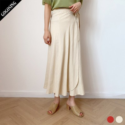 【GOGOSING】2color★ララリネンラップロングスカート(リネン60%)★レディーススカート 無地 ロングスカート ラップスカート 新作 韓国 ファッション p000cyin