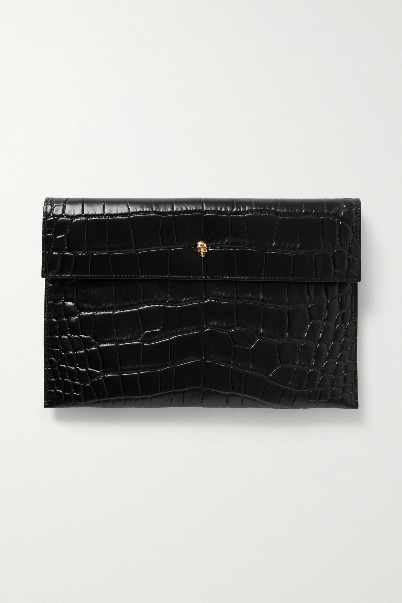 Alexander McQueen - Envelope Croc-effect Leather Pouch - Black - one size